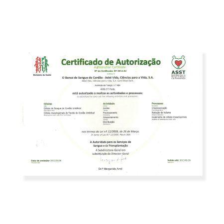 Certificado de Autorização da DGS BebéVida